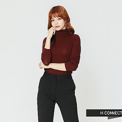 H:CONNECT 韓國品牌 女裝-合身高領純色上衣-紅