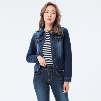 Victoria 針織丹寧牛仔外套-女-深藍
