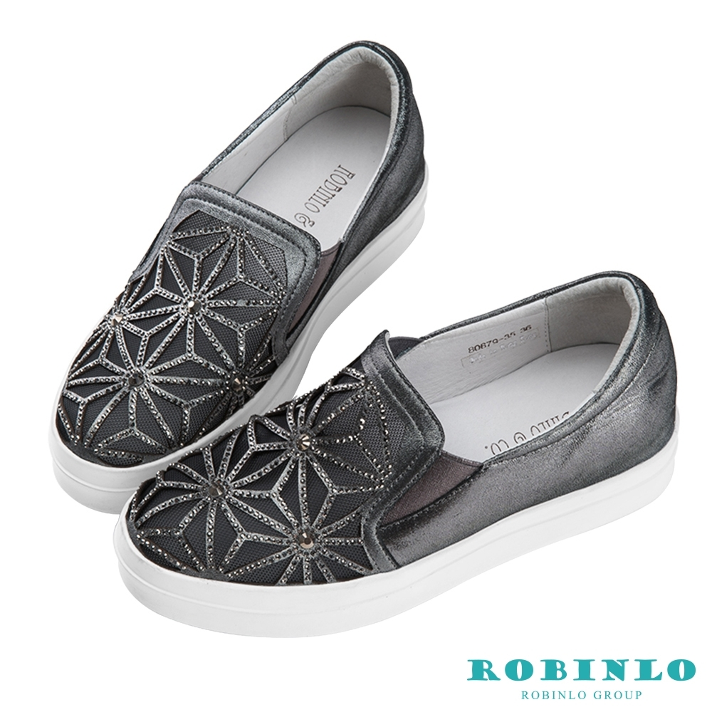 Robinlo 幾何縷空鑲鑽微增高羊皮休閒鞋 錫灰色
