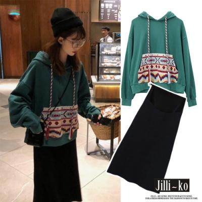 JILLI-KO 兩件套民族風印花口袋套裝- 綠色