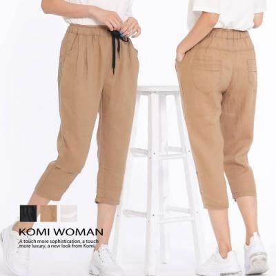 【KOMI】棉麻鬆緊綁帶打褶七分褲.三色