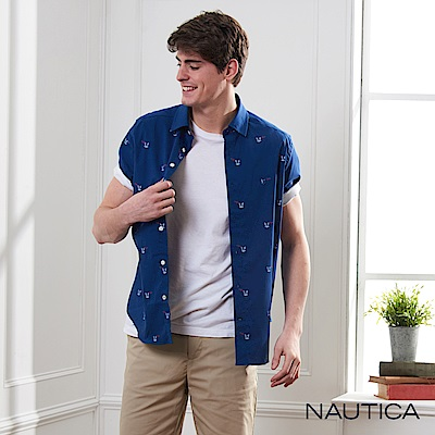 Nautica 船錨圖騰修身短袖襯衫-深藍色