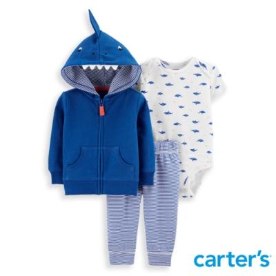 【Carter's】 鯊魚造型帽藍色3件組套裝(6M-24M) 任選 (台灣總代理)