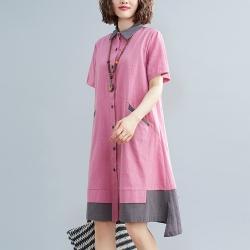撞色拼接斜插口袋寬鬆襯衫連衣裙M-2XL(共二色)-Keer