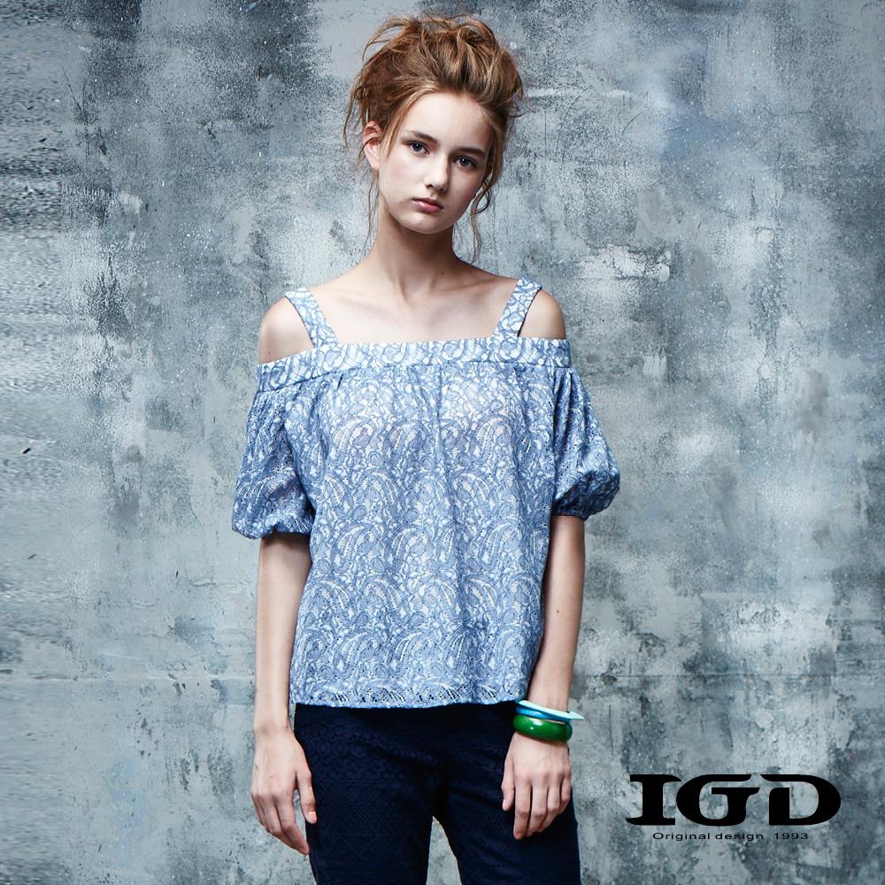 IGD英格麗 變形蟲刺繡鏤空平口造型上衣