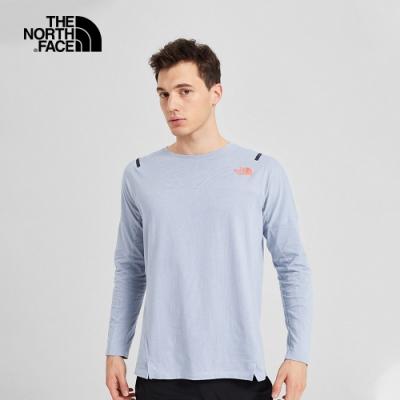 The North Face北面男款淺灰色吸濕排汗長袖T恤 3YVVDYX