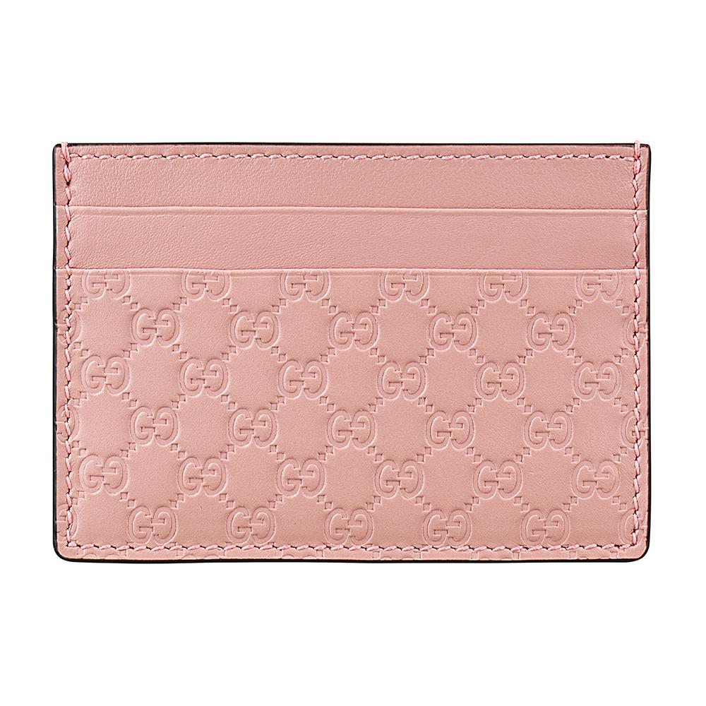 GUCCI經典Guccissima系列MINI雙G壓紋LOGO牛皮卡片夾(櫻花粉) @ Y!購物