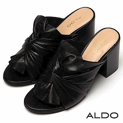 ALDO 原色真皮蝴蝶扭結鞋面復古木紋粗跟涼鞋~尊爵黑色