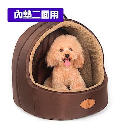 寵愛有家-牛津布羊羔絨蒙古包造型小型寵物窩