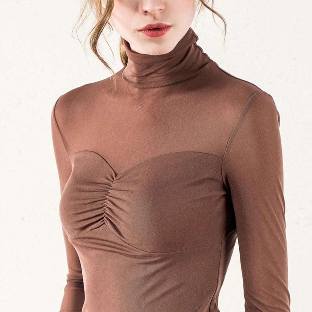 專注內搭-長袖T恤彈力上衣高領網紗內搭衫(二色S-2XL可選) product image 1