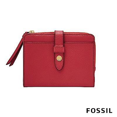 FOSSIL FIONA 真皮系列照片拉鍊短夾-紅色