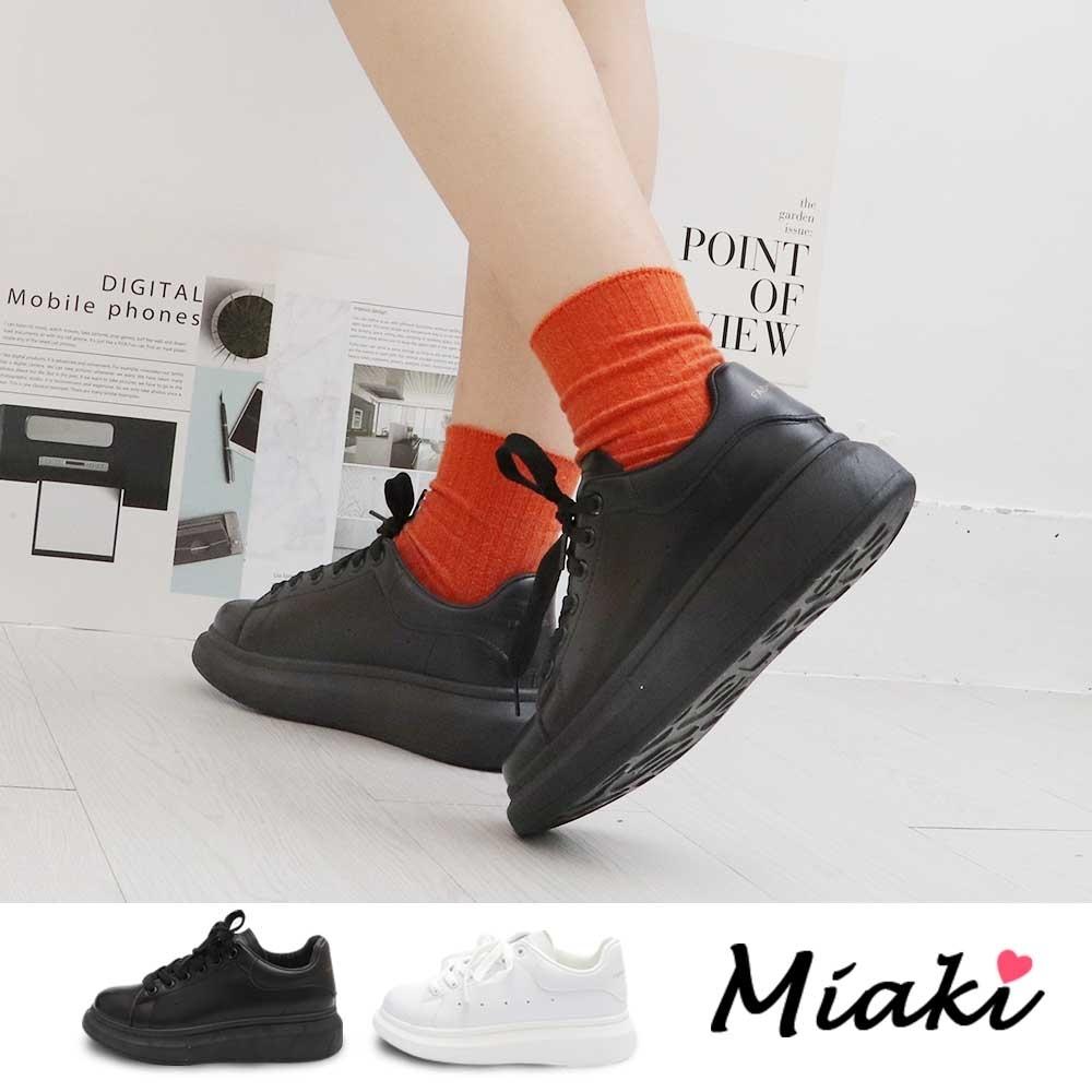 Miaki-休閒鞋.韓風皮革厚底小白鞋 (黑色系)