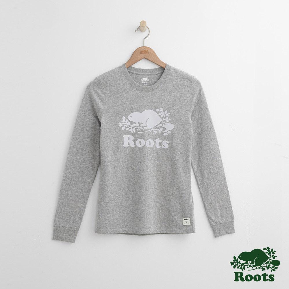 Roots -女裝- 反光LOGO長袖上衣 - 灰