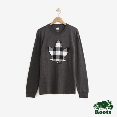 ROOTS 男裝-經典格紋楓葉長袖T恤-黑