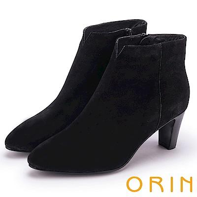 ORIN 經典儁永 素面牛磨皮粗跟短靴-黑色