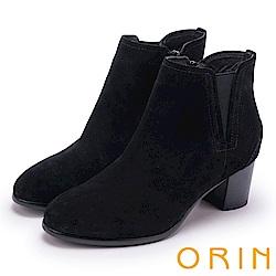 ORIN 經典復古 素面俐落彈力鬆緊粗跟短靴-黑色