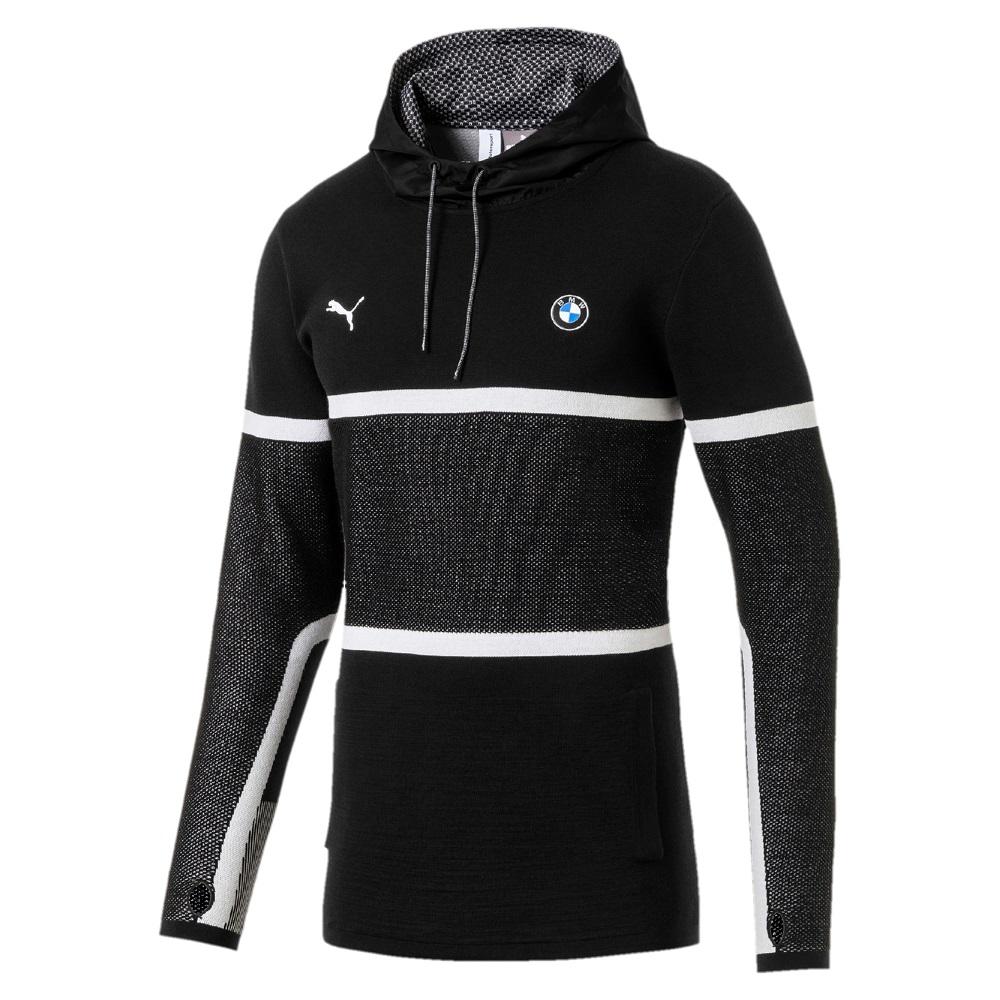 PUMA-男性BMW系列MMS evoKNIT長厚連帽T恤-黑色-歐規