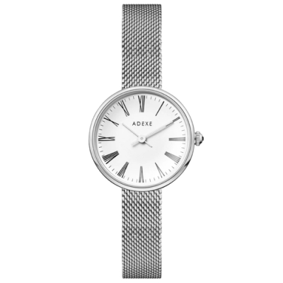 ADEXE 英國手錶 MINI SISTINE羅馬刻度 白錶盤x銀色錶框米蘭錶帶30mm