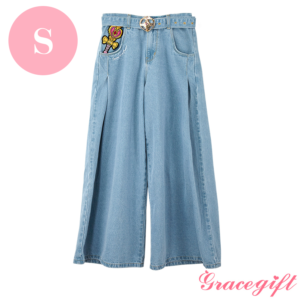 Grace gift-美少女戰士聯名電繡牛仔長褲 S