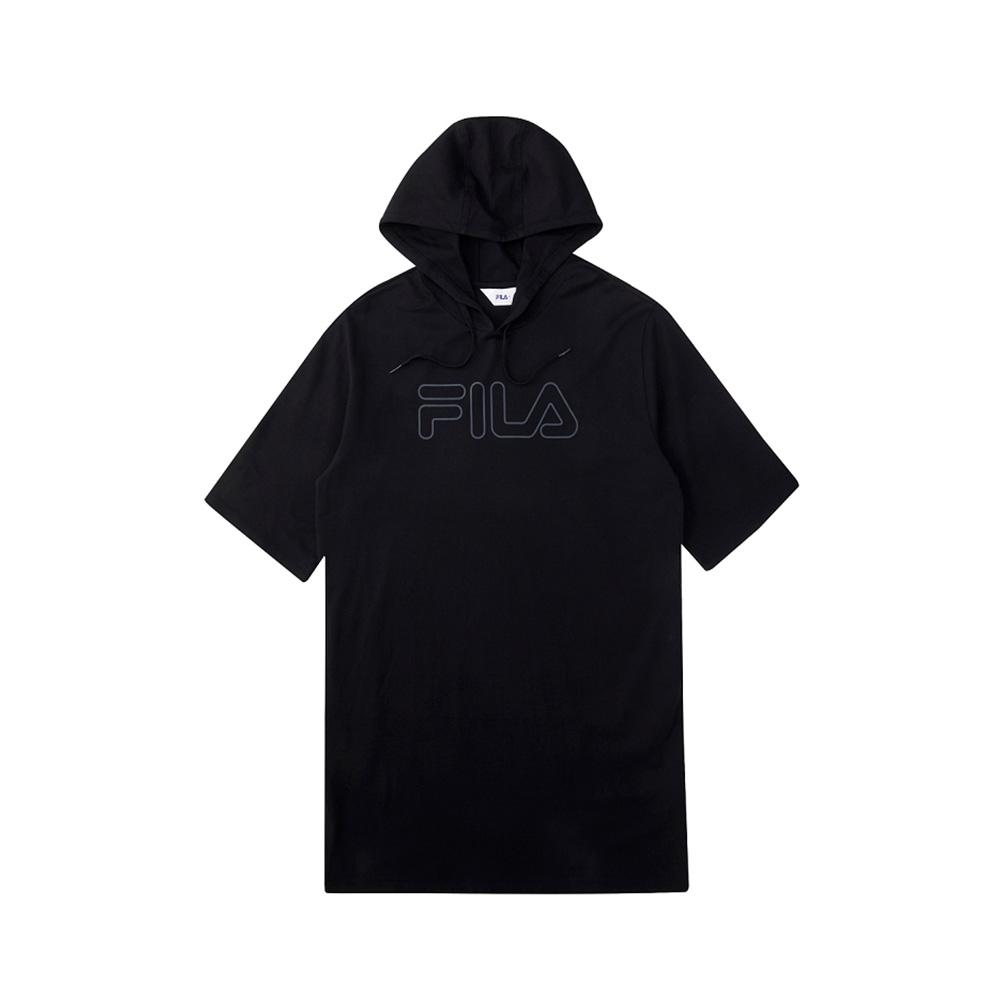 FILA 女長版連帽上衣-黑 5TEV-1505-BK