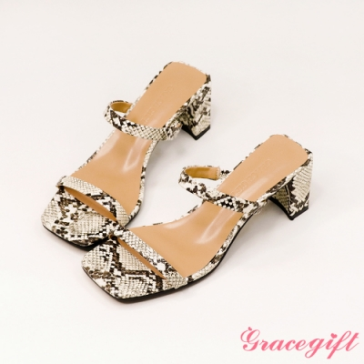 Grace gift-一字雙細帶高跟涼拖鞋 蛇紋