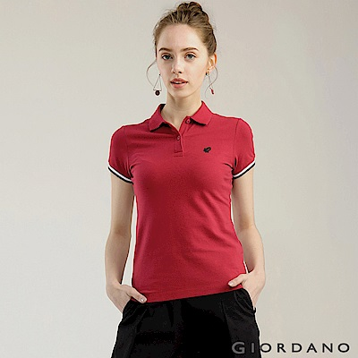 GIORDANO女裝經典撞色立領青蛙刺繡POLO衫-34標誌紅