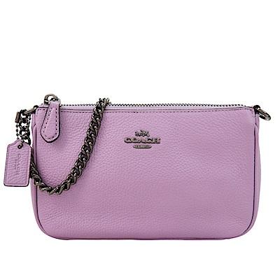 COACH 專櫃款Nolita荔枝紋鍊帶迷你手提包(紫)
