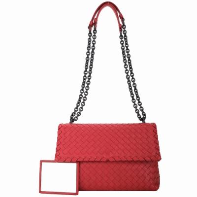 BOTTEGA VENETA Olimpia 大型 雙鍊帶小羊皮肩背/斜背包(紅色)