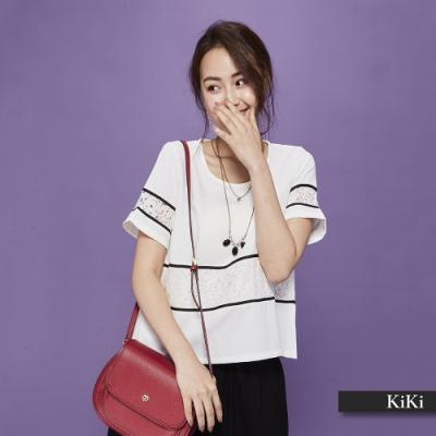 【KiKi】浪漫甜美蕾絲拼接素色-襯衫(粉色)