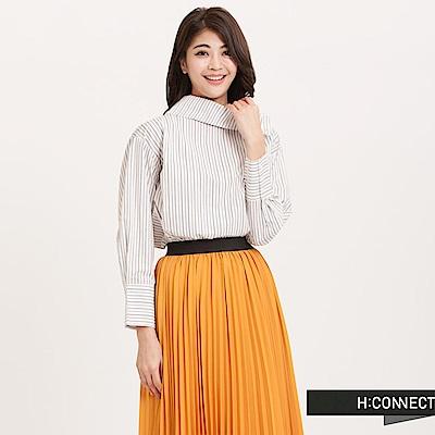H:CONNECT 韓國品牌 女裝 - 船領直紋寬鬆襯衫 - 白
