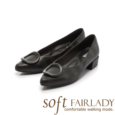 【FAIR LADY】Soft芯太軟 真皮壓紋圓釦尖頭低跟鞋 黑