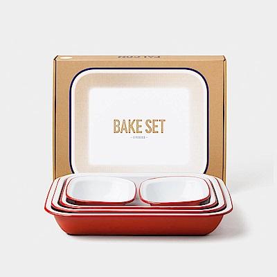 英國Falcon 獵鷹琺瑯 Bake Set 烘焙烤盤五件組 鮮果紅