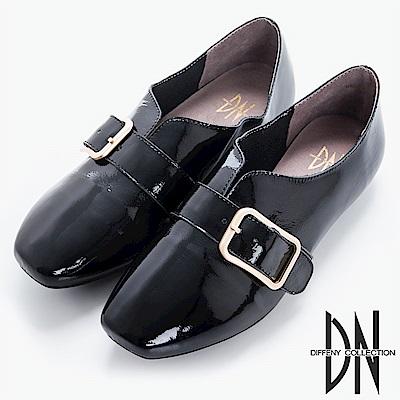 DN 舒適樂活 造型牛漆皮樂福鞋-黑