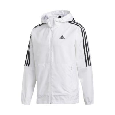 adidas 外套 3-Stripes Jacket 男款 愛迪達 三線 連帽 防風 基本款 穿搭 白 黑 FT2833