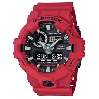 G-SHOCK創新突破金屬感搶眼視覺休閒錶(GA-700-4A)-紅X黑面/53.4mm