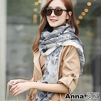 AnnaSofia 墨染玫瑰款 拷克邊韓國棉圍巾披肩(米灰系)