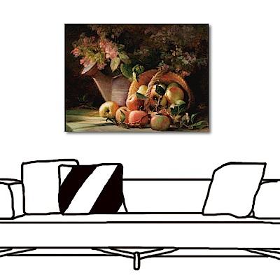 橙品油畫布-單聯式橫幅 掛畫大無框畫-採花少女-80x60cm