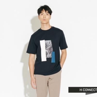 H:CONNECT 韓國品牌 男裝-紋路色塊拼接短T-藍