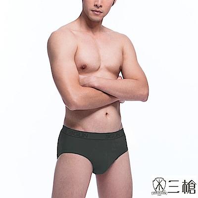 三槍牌 時尚經典純棉型男彈力棉織帶三角褲  6 件組隨機取色
