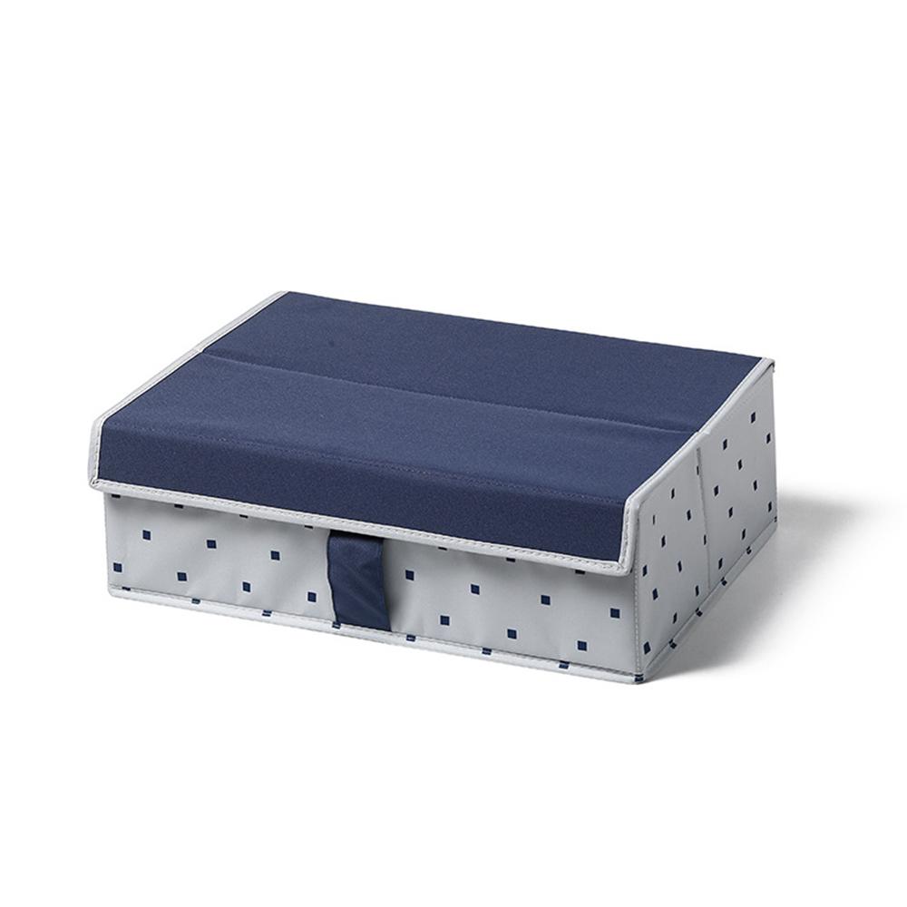 日系風格布藝襪子內衣收納箱-藍色方格