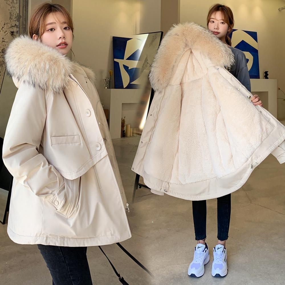 簡約百搭大毛領加絨加厚保暖短款外套M-2XL(共六色)-WHATDAY (粉色)