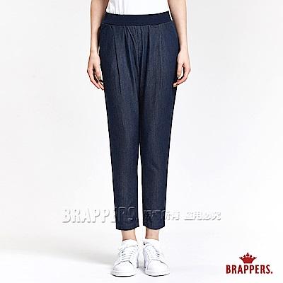 BRAPPERS 女款 BoyFriend系列-女用天絲棉鬆緊帶八分褲-藍