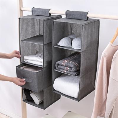 【Cap】可水洗加厚棉麻衣櫃掛袋4層