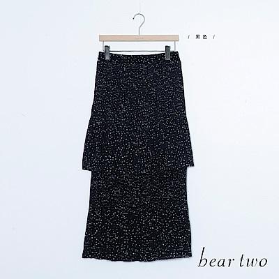 beartwo 沾滿星空點點印層次荷葉雪紡裙(黑色)