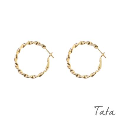 波浪扭曲紋圓圈耳環 TATA