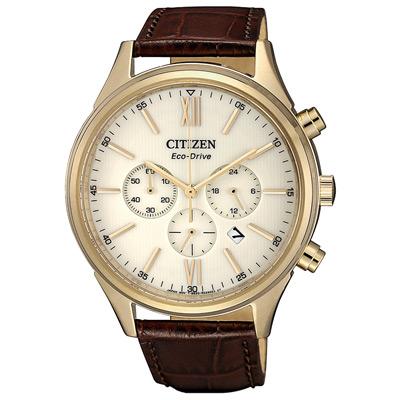 CITIZEN 光動能皮革時尚百搭手錶(CA4413-19A)-咖啡色錶帶/40mm