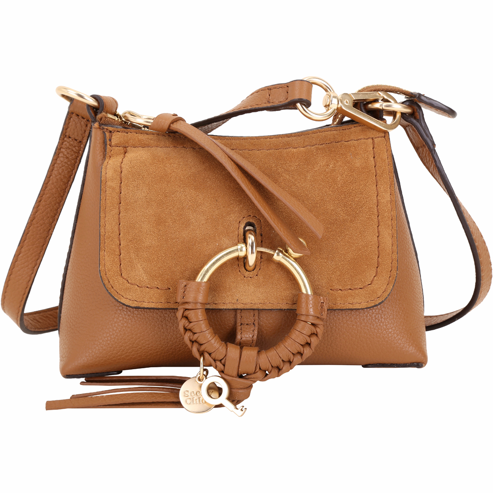 SEE BY CHLOE Joan 迷你款 編織金屬環拼接皮革手提肩背包(棕色)
