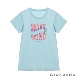 GIORDANO  女裝復古印花短袖T恤 - 61 酷藍