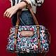 旅行肩背手提袋-英倫風印花經典系列-天空藍 - LiliO product thumbnail 1