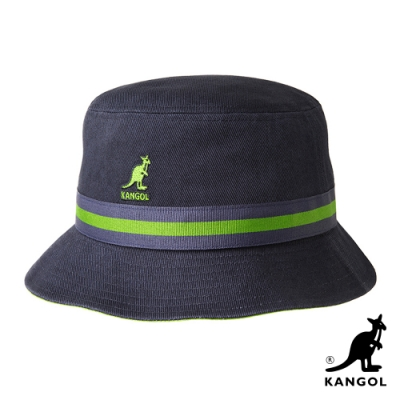 KANGOL-STRIPE水洗棉質漁夫帽-深藍色